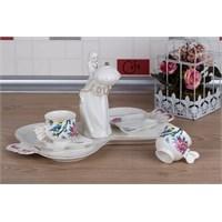 LoveQ Bird Serisi Lokumcu Kız Porselen Çift Kişilik Kahve Fincanı 147292B