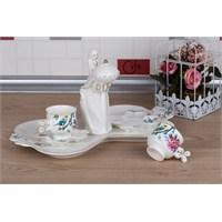 LoveQ Bird Serisi Lokumcu Kız Porselen Çift Kişilik Kahve Fincanı 147326B