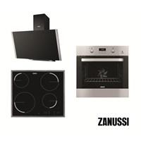 Zanussi Guido Italyan 3'lü Ankastre Set (ZOB65632XA Ankastre Fırın + ZEV6340XBA Elektrikli Ocak + ZHV64450BA Yatay Davlumbaz)
