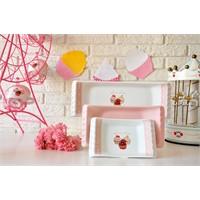Keramika Set Kayık Selen 18-24-33 Cm 3 Parça Beyaz 004 Pink Cake