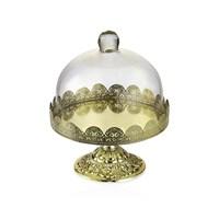 Noble Life Dekoratif Cam Kapaklı Gold Ayaklı Fanus - 25204