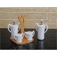 Fidex Home Porselen Yağlık Ve Sirkelik 4'Lü Set