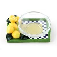 Polirezen Atıştırmalık, Limon Dekorlu, Mini Cam Kaseli