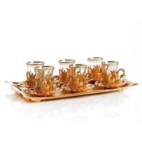 Sena Hanedan Tepsili Çay Seti Altın Sarı