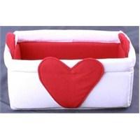Yastıkminder Kırmızı Beyaz Kalp Figürlü Çok Amaçlı Derleme Kabı