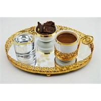 Cosiness Oval Altın Yaldız Motifli Aynalı Tepsi - Kahve Takımlı