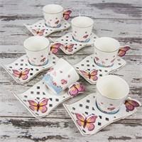 Mukko Home 6 Kişilik Lüks Porselen Kelebek Kahve Fincan Takımı - Mavi