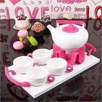 İhouse5646 Porselen Tepsili Çay Seti Pembe