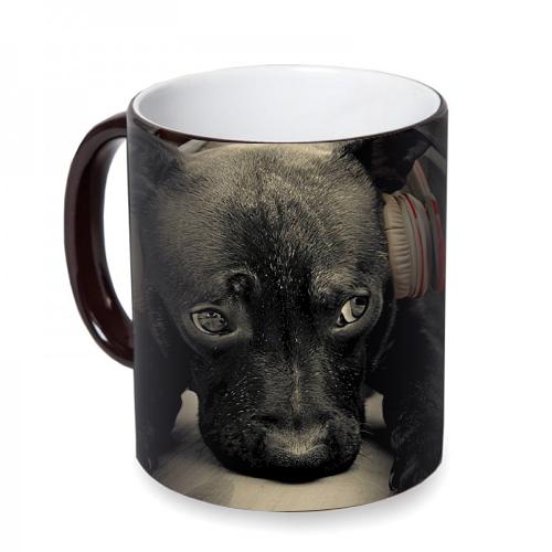 Fotografyabaskı Kulaklıklı Köpek Sihirli Siyah Kupa Bardak