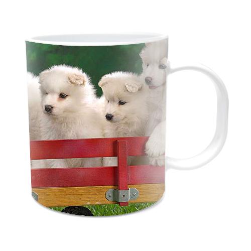 Fotografyabaskı Beyaz Yavru Köpekler Beyaz Kupa Bardak Baskı