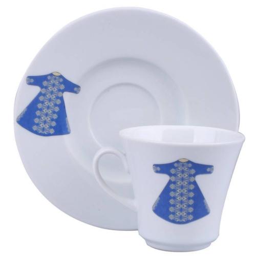 Kütahya Porselen 6 Kişilik Mavi Kaftanlı Kahve Fincan Takımı