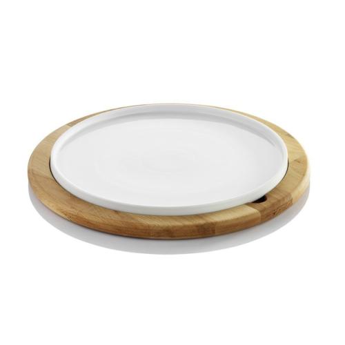 Kütahya Porselen Rotondo 2 Parça Ahşap Tepsili Sunum Seti
