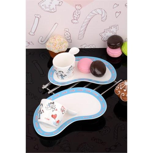 Paşahome İkram Tabaklı Özel Tasarım Lüx Porselen 2'Li Kahve İkram Seti
