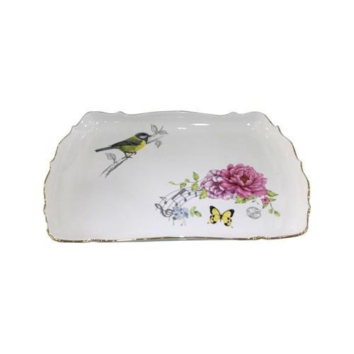 Fidex Home Kuşlu Dikdörtgen Büyük Servis Tabağı