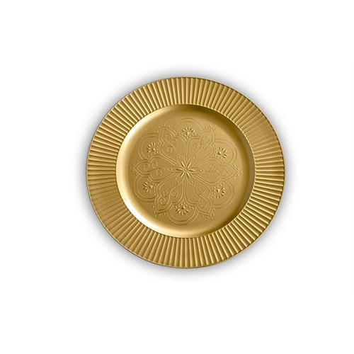 Kancaev Dekoratif Plastik Supla/Tabak Altlığı Ortası Çiçek Desenli - Altın 6'Lı Set
