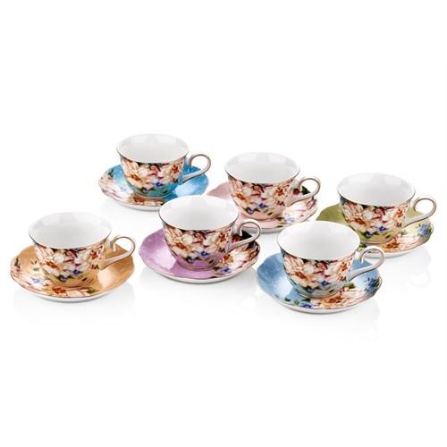 Cemile Güllü Karışık Renkli 6'Lı Çay Fincanı (6)