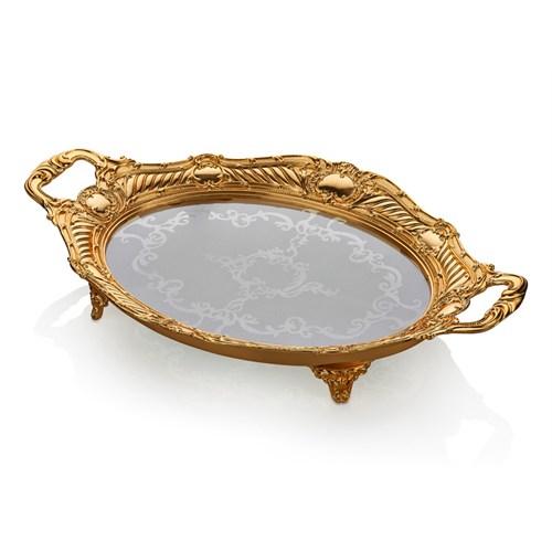 Cemile Altın Kaplama Amber Camlı Büyük Oval Tepsi