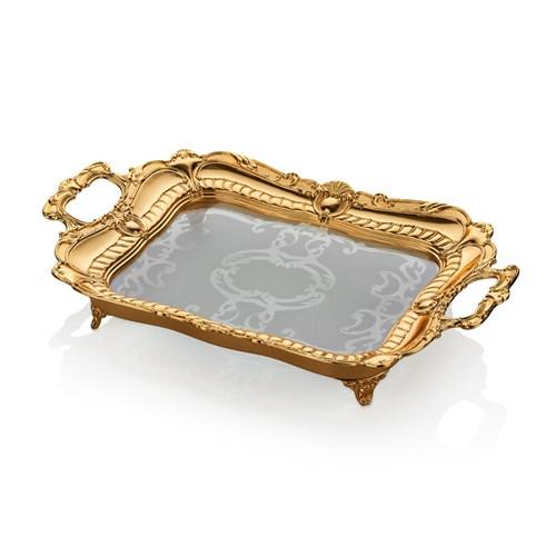 Cemile Altın Kaplama Amber Camlı Orta Boy Dik Tepsi