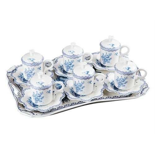 Biev Blue Dream 6 Kişilik Tepsili Kahve Takımı