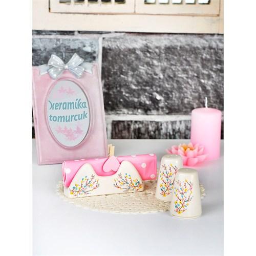 Keramika Set Tuzluk Biberlik Assos Peçetelik Platin 3 Parça Mat Transparan Beyaz 021 İlkbahar Tomurcuk A