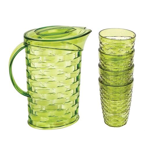 Bager Rattan 5 Parça Su Takımı - Yeşil