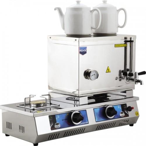 40 Model Çift Demlikli Doğalgazlı Ve Elektrikli Çay Kazanı 28Lt