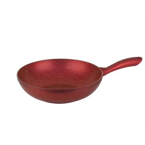 Tantitoni Kırmızı Granit Wok Tava - 28 Cm