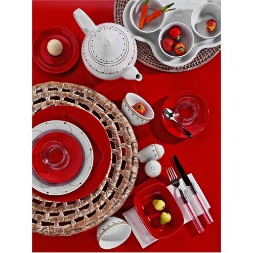 Kütahya 43 Parca Kahvaltı Takımı Kırmızı