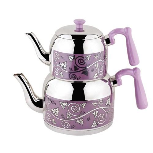Özkent K-371 Menekşe Desenli Mini Çaydanlık Lila