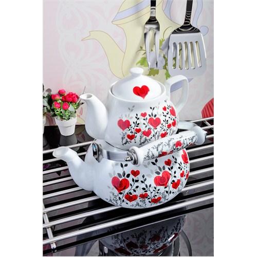 Royal Windsor Kalp Desenli Emaye Üzeri Porselen Çaydanlik Seti