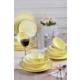 Keramika 48 Adet 12 Kişilik Badem Yemek Takımı Açık Sarı