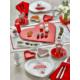 Keramika 17 Adet 2 Kişilik Kalp Kahvaltı Seti Red Love