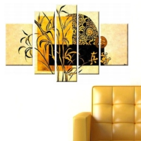 Tictac Design 5 Parçalı Kanvas Tablo Floral