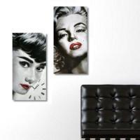 Tictac Design 2 Parçalı Kanvas Tablo Saat - Marilyn & Audrey