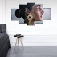 Tictac Design 5 Parça Kanvas Tablo - Etnik Kadın