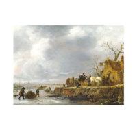 ARTİKEL Follower of Isack Van Ostade - An Inn by a Frozen River 50x70 cm KS-1473