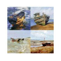 ARTİKEL Boats 4 Parça Kanvas Tablo 70x70 cm KS-808