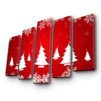 Özgül Grup 5 Parça Kanvas Tablo - Çam Ağaçlar