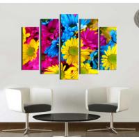 K Dekorasyon Renkli Papatyalar 5 Parçalı Mdf Tablo KM5P1011