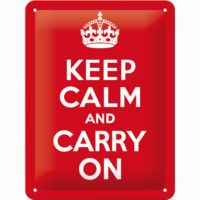 Nostalgic Art Keep Calm and Carry On Metal Kabartmalı Pin Up Duvar Panosu 15x20 cm