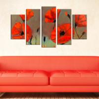 Casa De Arte 5 Parça Kanvas Tablo Kırmızı Çiçekler