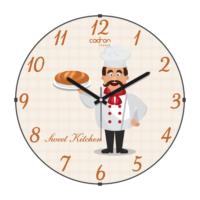 Cadran Lu x ury Sweet Kitchen Bombeli Cam Duvar Saati Aşçı Cl172