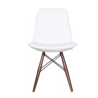 3A Mobilya Beyaz Deri Ahşap Çapraz Ayak Sandalye - Beyaz