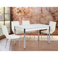 Gül Masa Sabit Masa Sandalye Takımı 4 Sandalyeli Sanpa Beyaz