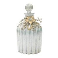 Casa Di Mona Altına Gümüş Patine Boncuk Süslemeli Dekoratif Kapaklı Büyük Şişe