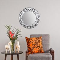 Carven Dekoratif Motifli Ayna Siyah Gri