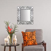 Carven Dekoratif Motifli Dikdörtgen Ayna Siyah Gri