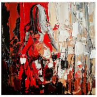 Arte Kırmızı Beyaz Çizim Kanvas Tablo