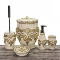 Mukko Home Flora Krem Altın 5 Parça Polyester Banyo Takımı