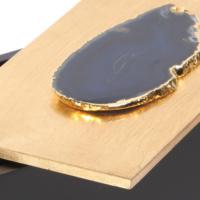 Mavi Taşlı Ahşap Dekoratif Kutu L 25x12x9 Cm